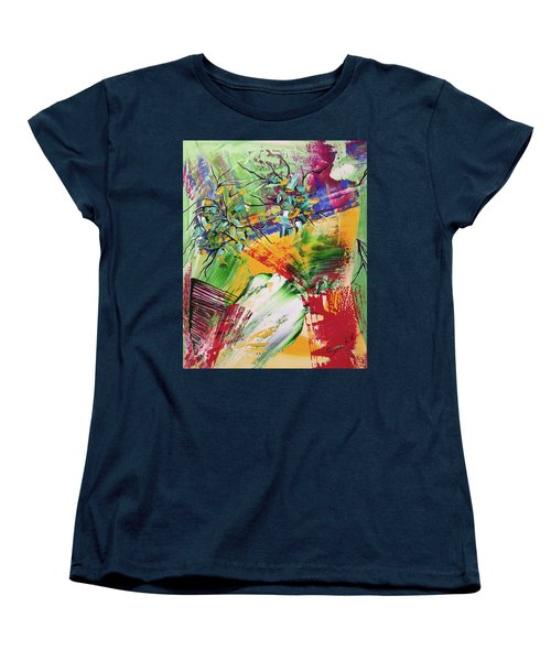 Women's T-Shirt (Standard Cut) featuring the painting Looking Beyound The Present by Sima Amid Wewetzer