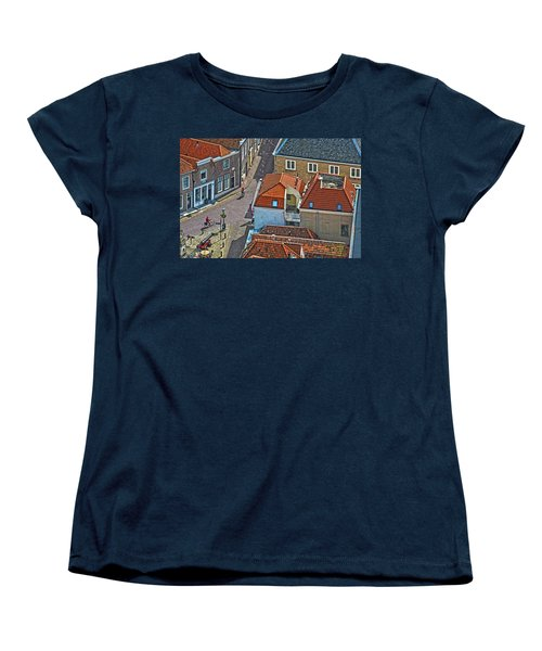 Women's T-Shirt (Standard Cut) featuring the photograph Looking Down From The Church Tower In Brielle by Frans Blok