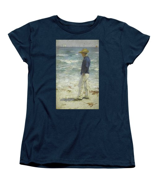 Women's T-Shirt (Standard Cut) featuring the painting Looking Out To Sea by Henry Scott Tuke