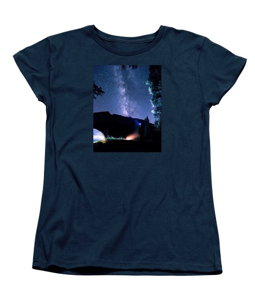 Looking Up At Milky Way Women's T-Shirt (Standard Cut) by Michael J Bauer