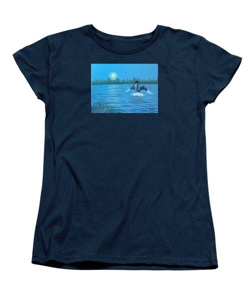 Loon Dance Women's T-Shirt (Standard Cut) by Brenda Bonfield