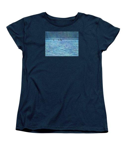 Loons On The Lake Women's T-Shirt (Standard Cut) by Joy Nichols