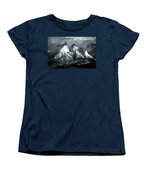 Los Cuernos In Black And White Women's T-Shirt (Standard Cut) by Andrew Matwijec