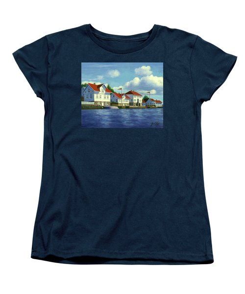 Women's T-Shirt (Standard Cut) featuring the painting Loshavn Village Norway by Janet King