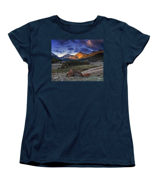 Women's T-Shirt (Standard Cut) featuring the photograph Lost River Mountains Moon by Leland D Howard