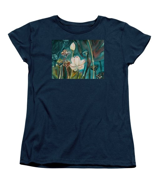 Women's T-Shirt (Standard Cut) featuring the painting Lotus Study I by Xueling Zou