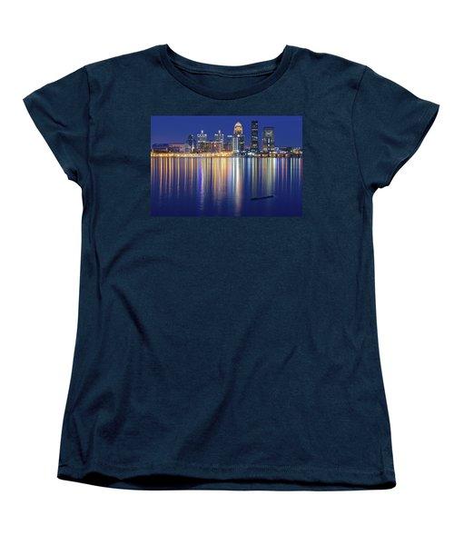 Louisville During Blue Hour Women's T-Shirt (Standard Cut) by Frozen in Time Fine Art Photography