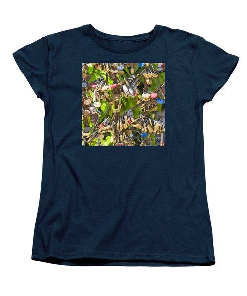 Women's T-Shirt (Standard Cut) featuring the photograph Love Locks Square by Chris Dutton