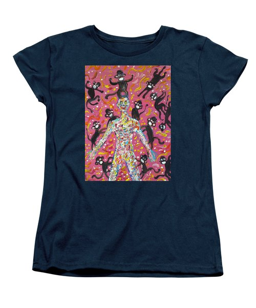 Women's T-Shirt (Standard Cut) featuring the painting Loved By The Monkeys by Fabrizio Cassetta