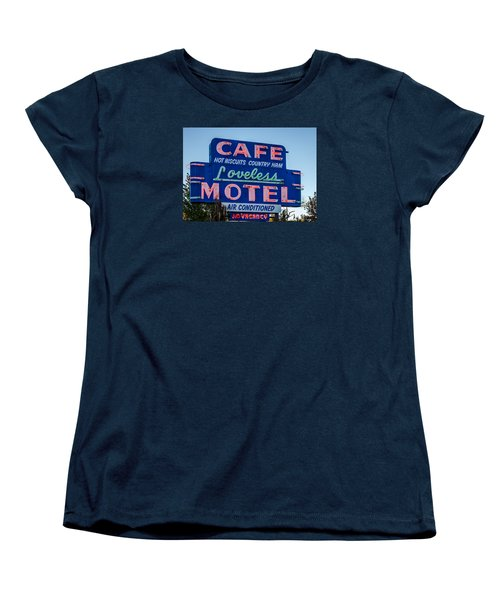 Loveless Cafe And Motel Sign Women's T-Shirt (Standard Cut) by Debra Martz