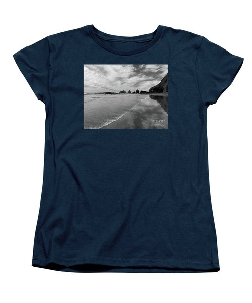 Low Tide - Black And White Women's T-Shirt (Standard Cut) by Scott Cameron
