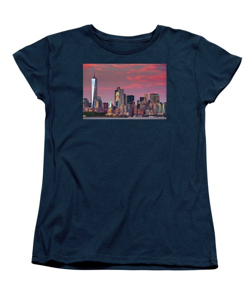 Women's T-Shirt (Standard Cut) featuring the photograph Lower Manhattan In Pink by Emmanuel Panagiotakis