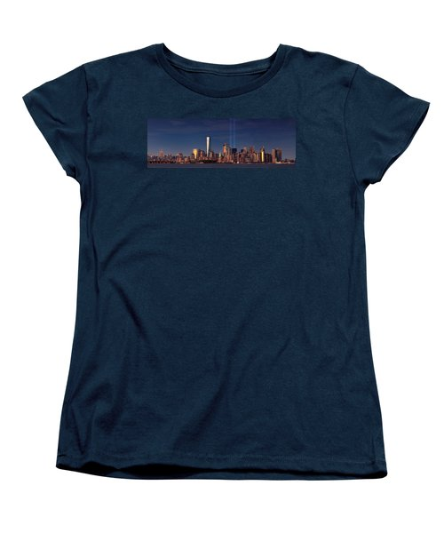 Women's T-Shirt (Standard Cut) featuring the photograph Lower Manhattantribute In Light by Emmanuel Panagiotakis