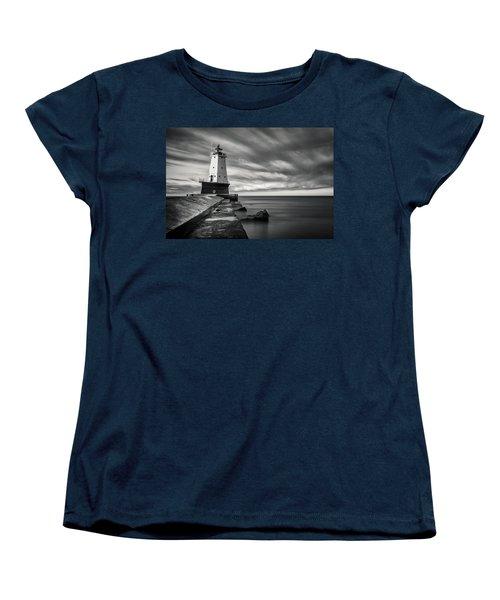 Women's T-Shirt (Standard Cut) featuring the photograph Ludington Light Black And White by Adam Romanowicz