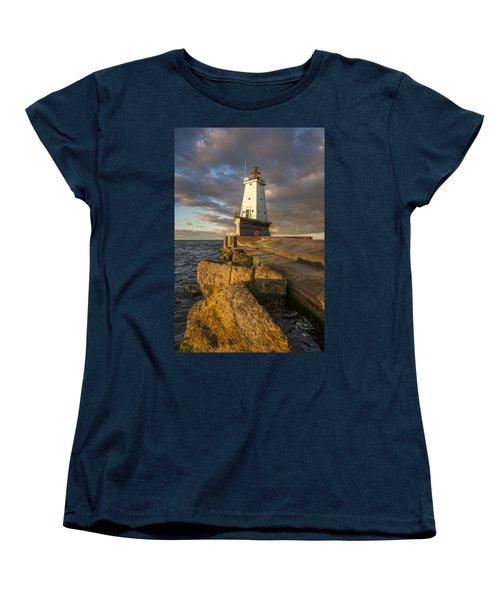 Women's T-Shirt (Standard Cut) featuring the photograph Ludington North Breakwater Lighthouse At Sunrise by Adam Romanowicz