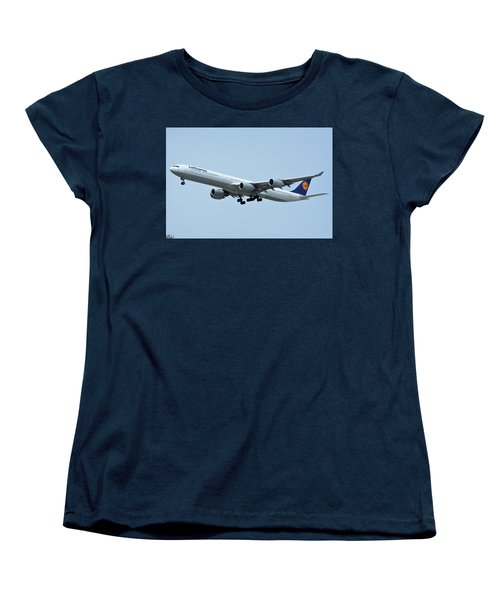 Women's T-Shirt (Standard Cut) featuring the photograph Lufthansa Airbus A340-600 D-aihw Los Angeles International Airport May 3 2016 by Brian Lockett