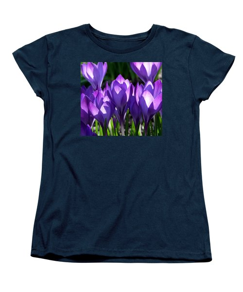 Women's T-Shirt (Standard Cut) featuring the photograph Luminous Floral Geometry by Byron Varvarigos