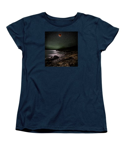 Lunar Eclipse Over Great Head Women's T-Shirt (Standard Cut) by Brent L Ander