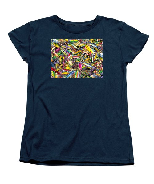 Women's T-Shirt (Standard Cut) featuring the painting Lure Collage by Jon Q Wright