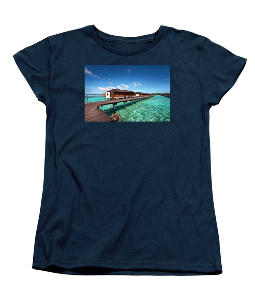 Women's T-Shirt (Standard Cut) featuring the photograph Luxury Water Villas Of Maldivian Resort by Jenny Rainbow