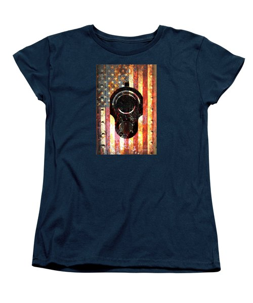 M1911 Colt 45 On Rusted American Flag Women's T-Shirt (Standard Cut) by M L C