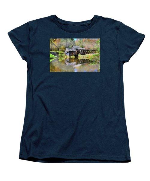 Women's T-Shirt (Standard Cut) featuring the digital art Mabry Grist Mill by Sharon Batdorf