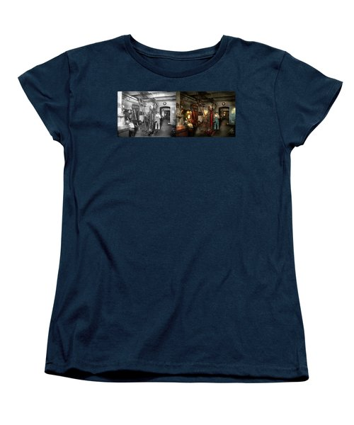 Women's T-Shirt (Standard Cut) featuring the photograph Machinist - Government Approved 1919 - Side By Side by Mike Savad