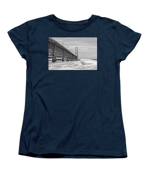 Women's T-Shirt (Standard Cut) featuring the photograph Mackinac Bridge Icy Black And White  by John McGraw