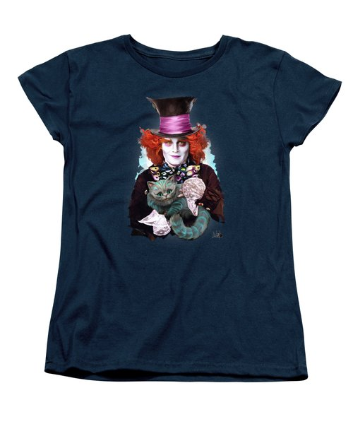 Mad Hatter And Cheshire Cat Women's T-Shirt (Standard Cut) by Melanie D