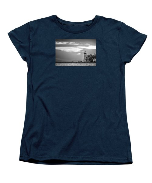 Women's T-Shirt (Standard Cut) featuring the photograph Madisonville Lighthouse In Black-and-white by Andy Crawford