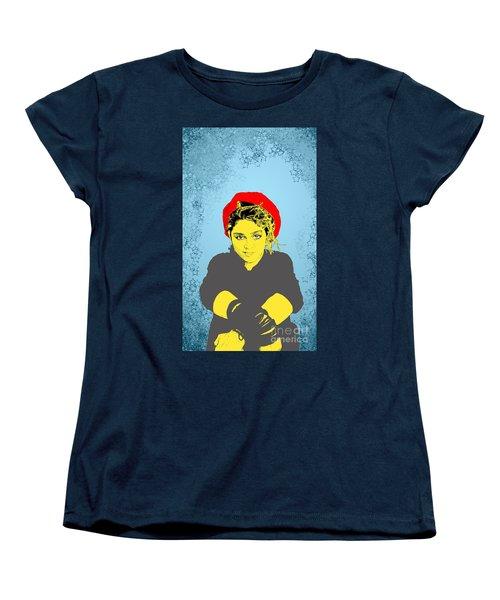 Madonna On Blue Women's T-Shirt (Standard Cut) by Jason Tricktop Matthews