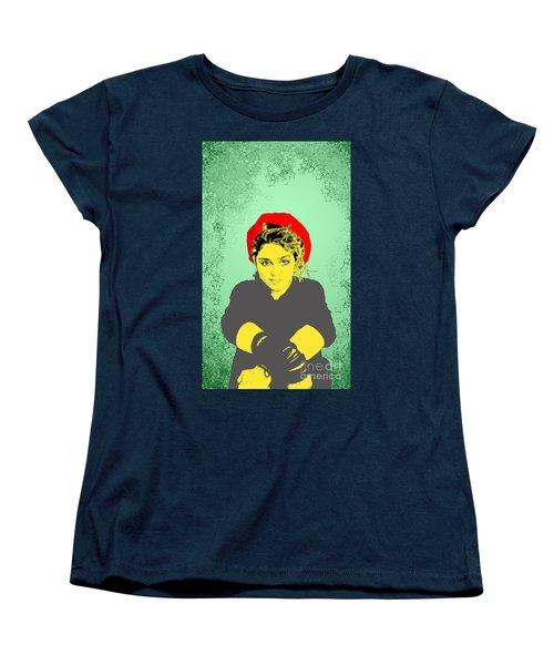 Madonna On Green Women's T-Shirt (Standard Cut) by Jason Tricktop Matthews