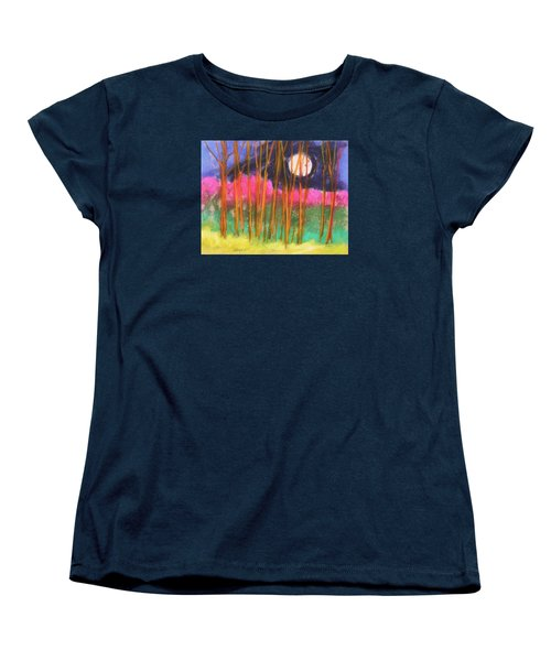 Women's T-Shirt (Standard Cut) featuring the painting Magenta Treeline by John Williams