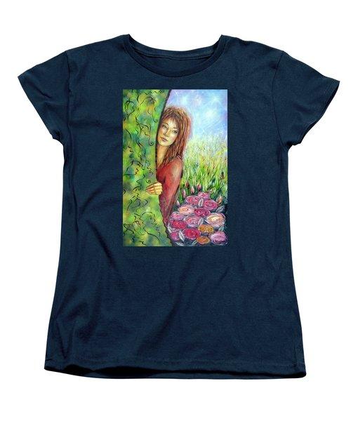 Women's T-Shirt (Standard Cut) featuring the painting Magic Garden 021108 by Selena Boron