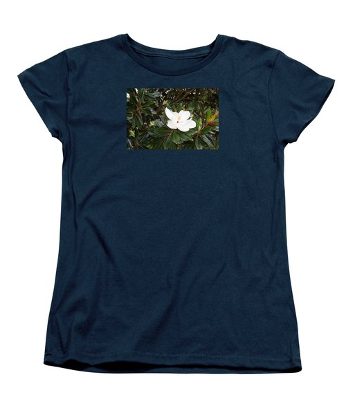 Women's T-Shirt (Standard Cut) featuring the photograph Magnolia Blossom by Linda Geiger