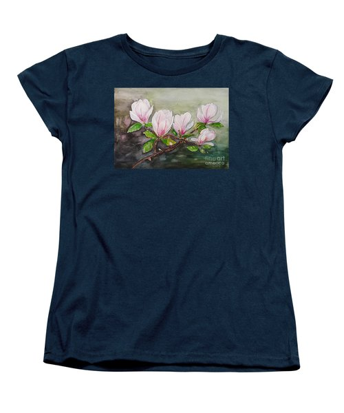 Magnolia Blossom - Painting Women's T-Shirt (Standard Cut) by Veronica Rickard