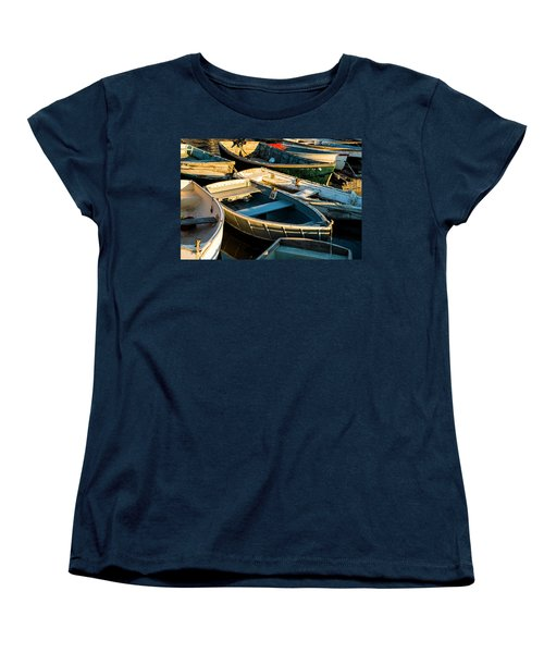 Women's T-Shirt (Standard Cut) featuring the photograph Maine Boats At Sunset by Ranjay Mitra