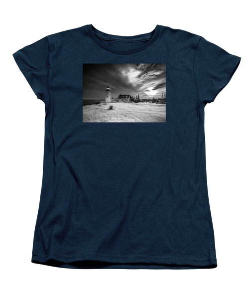 Maine Coastal Storm Over Pemaquid Lighthouse Women's T-Shirt (Standard Cut) by Ranjay Mitra