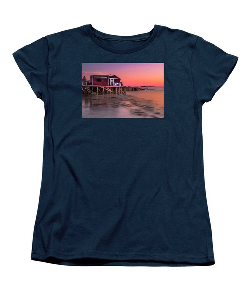 Women's T-Shirt (Standard Cut) featuring the photograph Maine Coastal Sunset At Dicks Lobsters - Crabs Shack by Ranjay Mitra