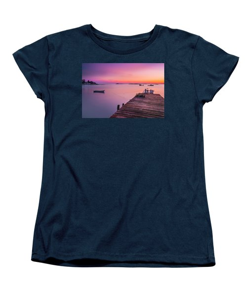 Women's T-Shirt (Standard Cut) featuring the photograph Maine Cooks Corner Lobster Shack At Sunset by Ranjay Mitra