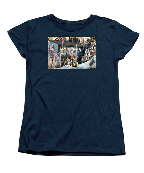 Women's T-Shirt (Standard Cut) featuring the photograph Maine Lobster Shack In Winter by Ranjay Mitra