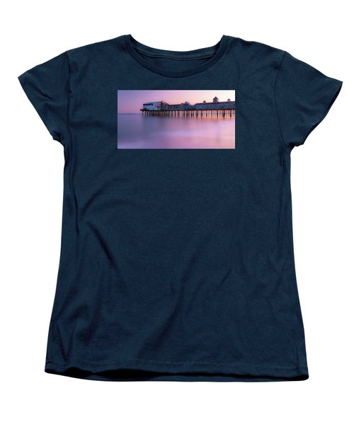 Maine Oob Pier At Sunset Panorama Women's T-Shirt (Standard Cut) by Ranjay Mitra