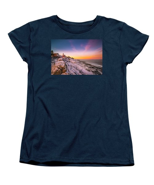 Women's T-Shirt (Standard Cut) featuring the photograph Maine Pemaquid Lighthouse In Winter Snow by Ranjay Mitra