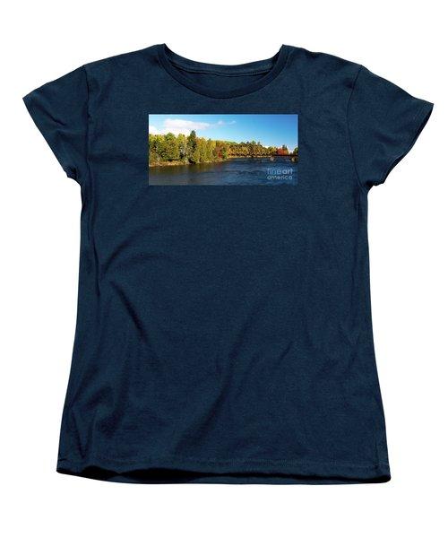 Maine Rail Line Women's T-Shirt (Standard Cut) by Sandy Molinaro