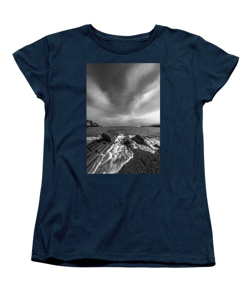 Maine Storm Clouds And Crashing Waves On Rocky Coast Women's T-Shirt (Standard Cut) by Ranjay Mitra