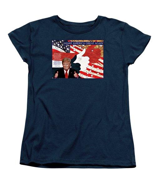Women's T-Shirt (Standard Cut) featuring the digital art Make America Great Again - President Donald Trump by Glenn McCarthy Art and Photography