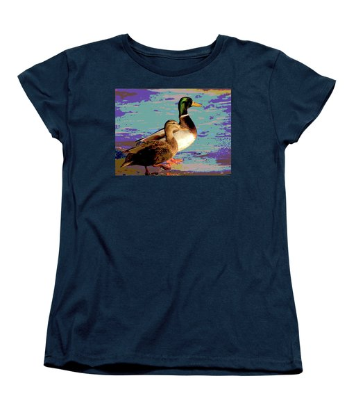 Women's T-Shirt (Standard Cut) featuring the mixed media Male And Femal Mallard by Charles Shoup