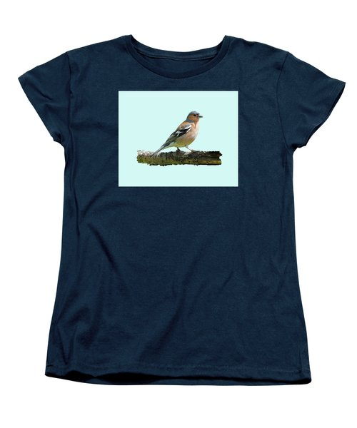 Male Chaffinch, Blue Background Women's T-Shirt (Standard Cut) by Paul Gulliver
