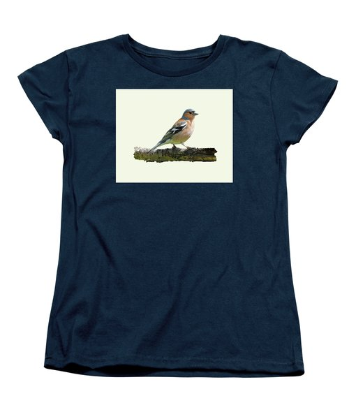 Women's T-Shirt (Standard Cut) featuring the photograph Male Chaffinch, Cream Background by Paul Gulliver