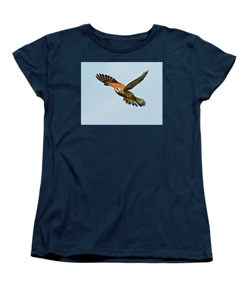 Women's T-Shirt (Standard Cut) featuring the photograph Male Kestrel In The Wind. by Paul Scoullar